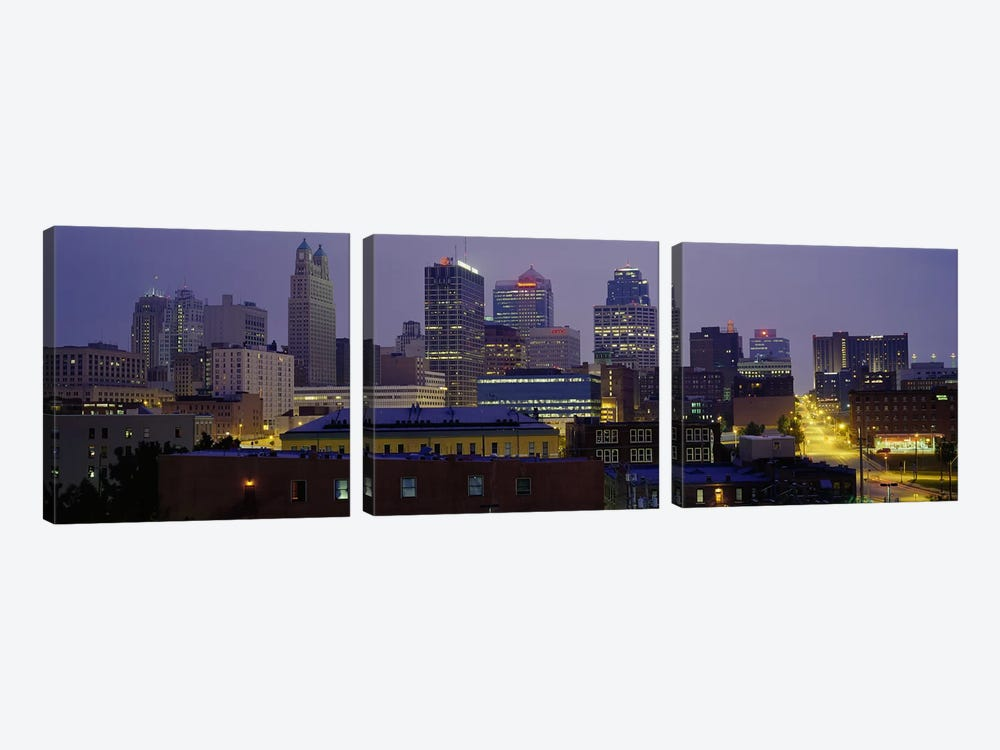 Buildings lit up at duskKansas City, Missouri, USA by Panoramic Images 3-piece Canvas Wall Art