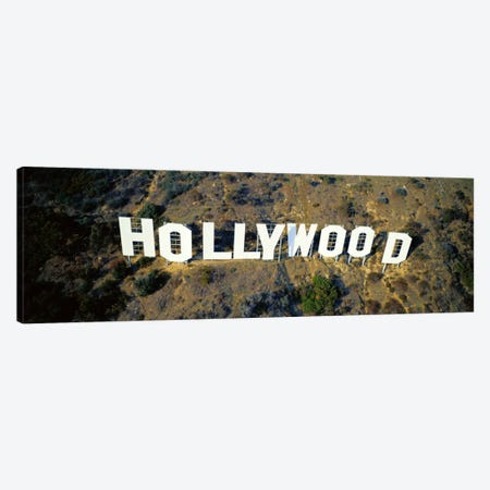 USA, California, Los Angeles, Aerial view of Hollywood Sign at Hollywood Hills Canvas Print #PIM3672} by Panoramic Images Canvas Art Print