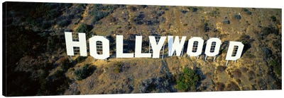 USA, California, Los Angeles, Aerial view of Hollywood Sign at Hollywood Hills Canvas Print #PIM3672