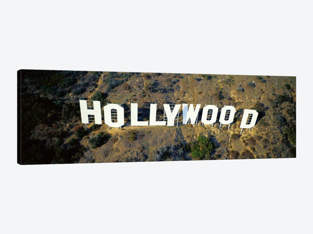 USA, California, Los Angeles, Aerial view of Hollywood Sign at Hollywood Hills by Panoramic Images 1-piece Canvas Art Print
