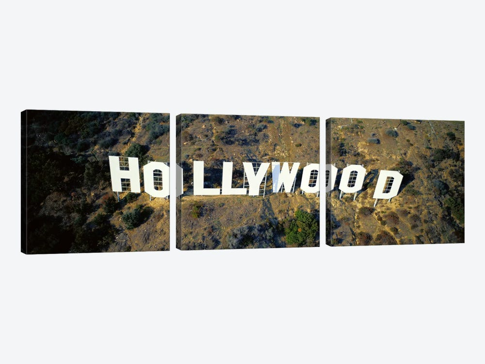USA, California, Los Angeles, Aerial view of Hollywood Sign at Hollywood Hills by Panoramic Images 3-piece Art Print