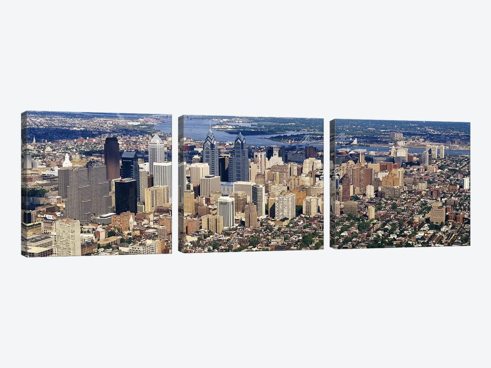 Aerial view of a city, Philadelphia, Pennsylvania, USA #2 by Panoramic Images 3-piece Canvas Wall Art