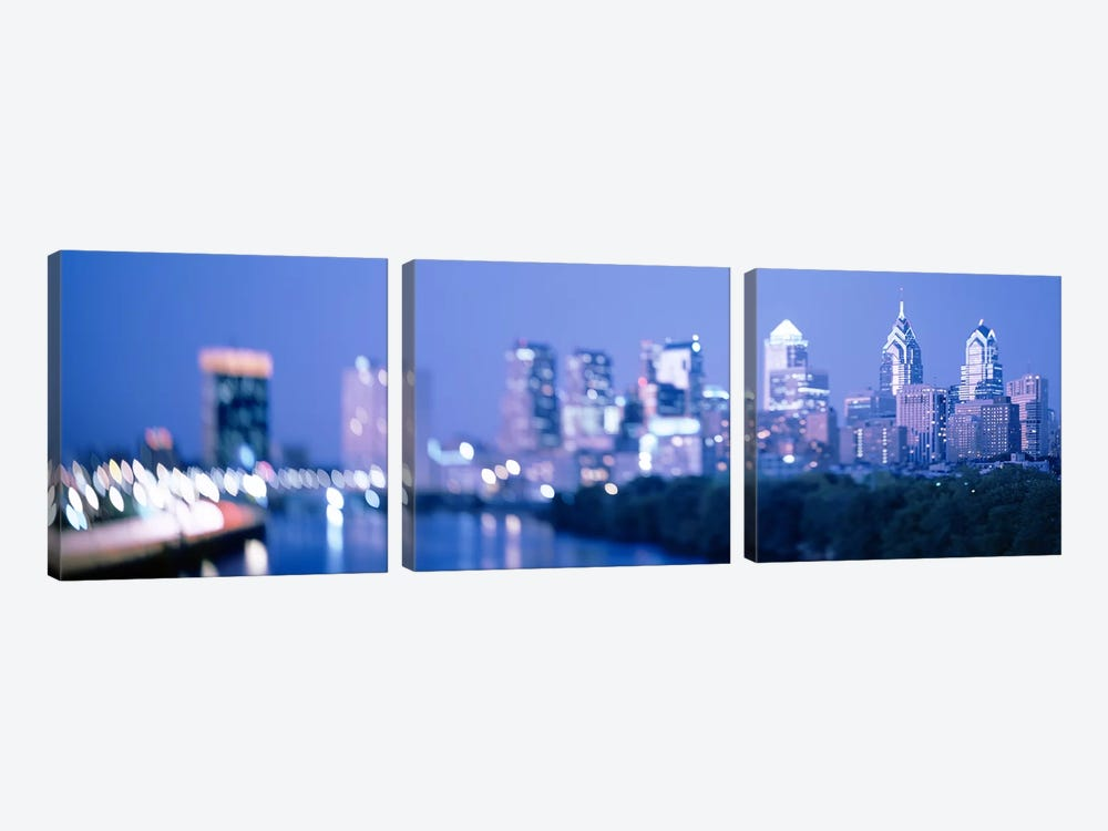 River passing through a city, Schuylkill River, Philadelphia, Pennsylvania, USA by Panoramic Images 3-piece Canvas Artwork