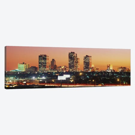 Buildings lit up at dusk, Fort Worth, Texas, USA Canvas Print #PIM3679} by Panoramic Images Canvas Print