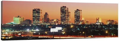 Buildings lit up at dusk, Fort Worth, Texas, USA Canvas Print #PIM3679