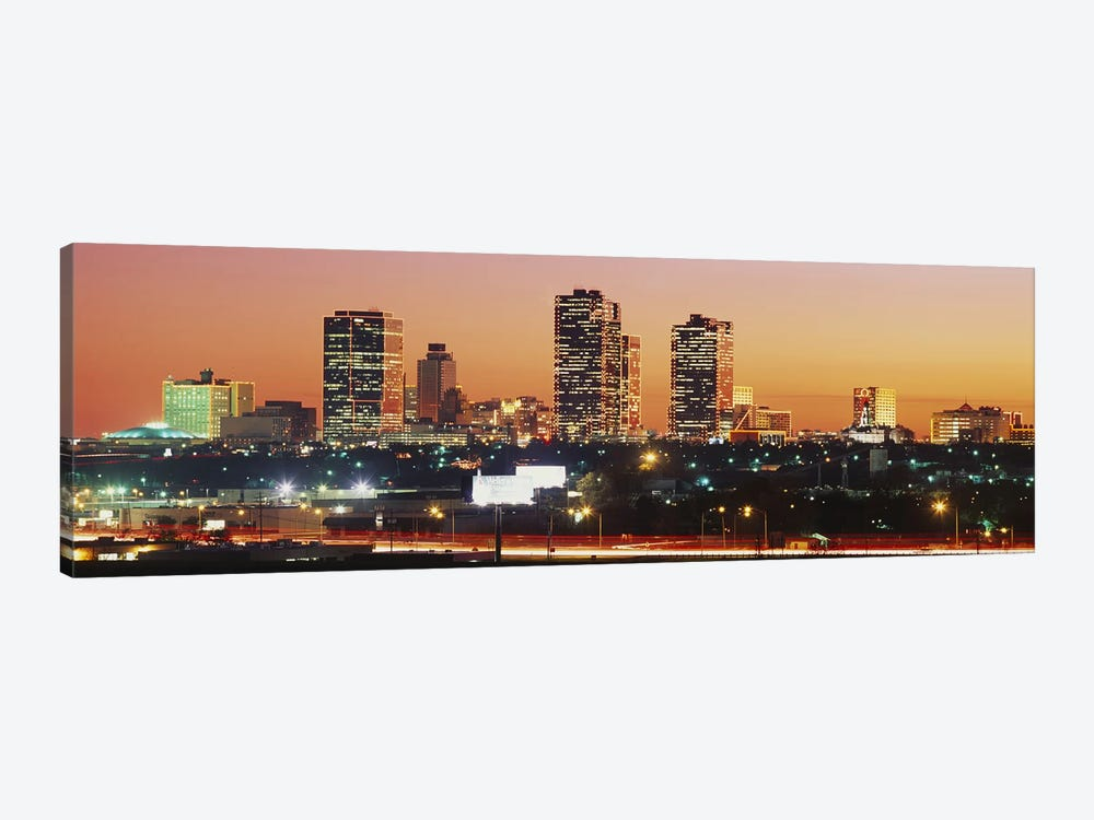 Buildings lit up at dusk, Fort Worth, Texas, USA by Panoramic Images 1-piece Canvas Art