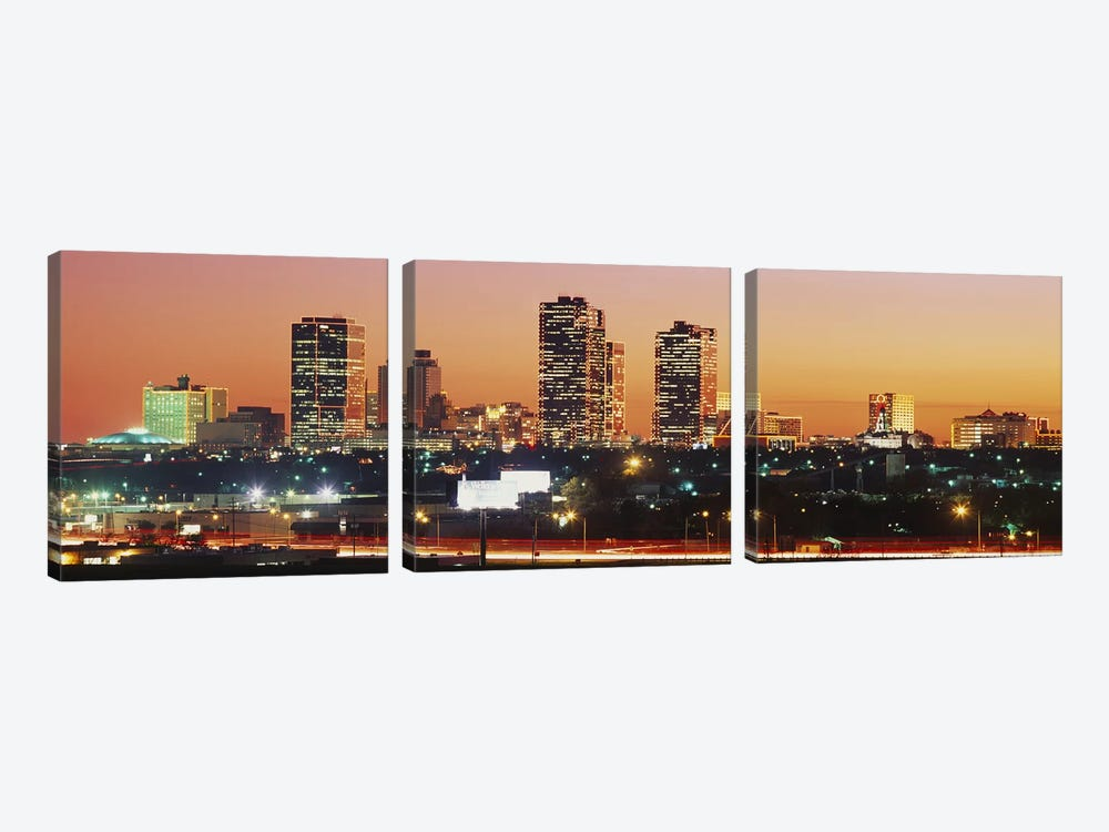 Buildings lit up at dusk, Fort Worth, Texas, USA by Panoramic Images 3-piece Canvas Art