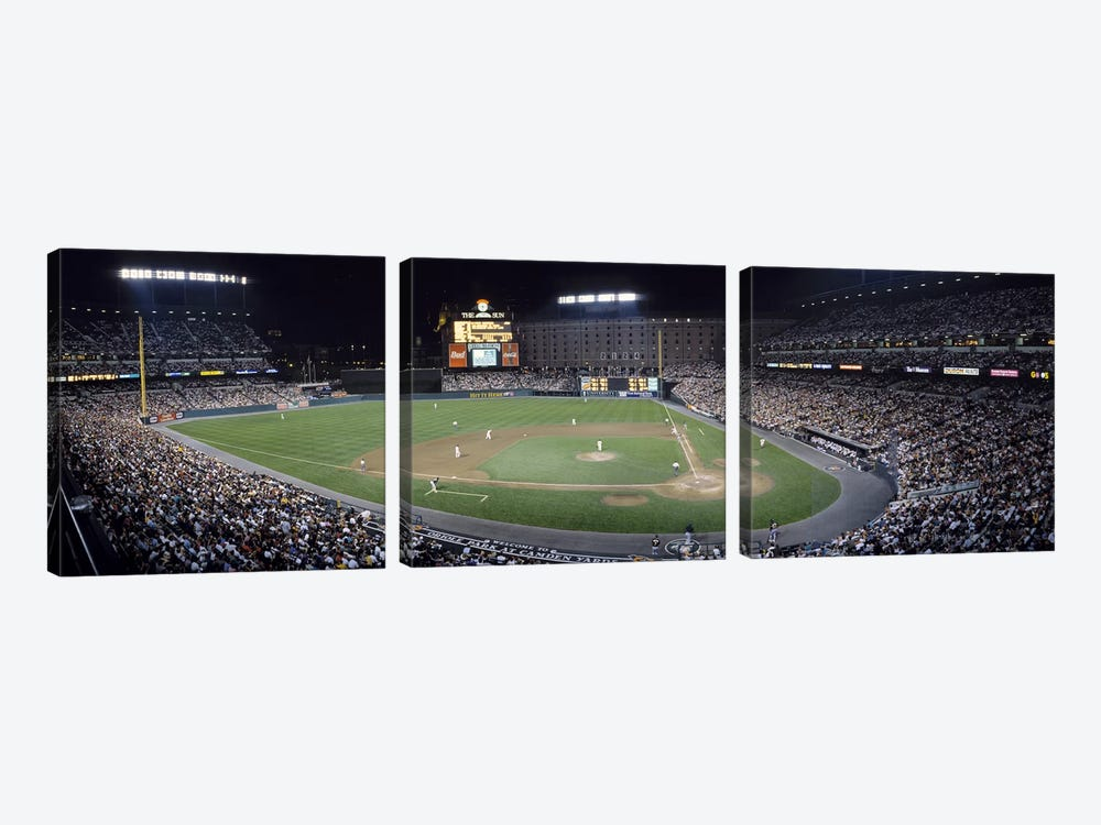 Baseball Game Camden Yards Baltimore MD by Panoramic Images 3-piece Canvas Wall Art