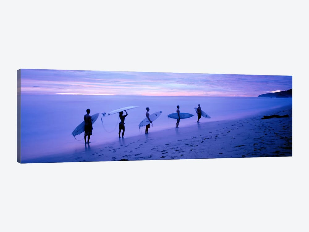 Surfers on Beach Costa Rica 1-piece Canvas Art Print