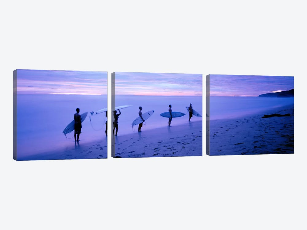 Surfers on Beach Costa Rica by Panoramic Images 3-piece Canvas Art Print