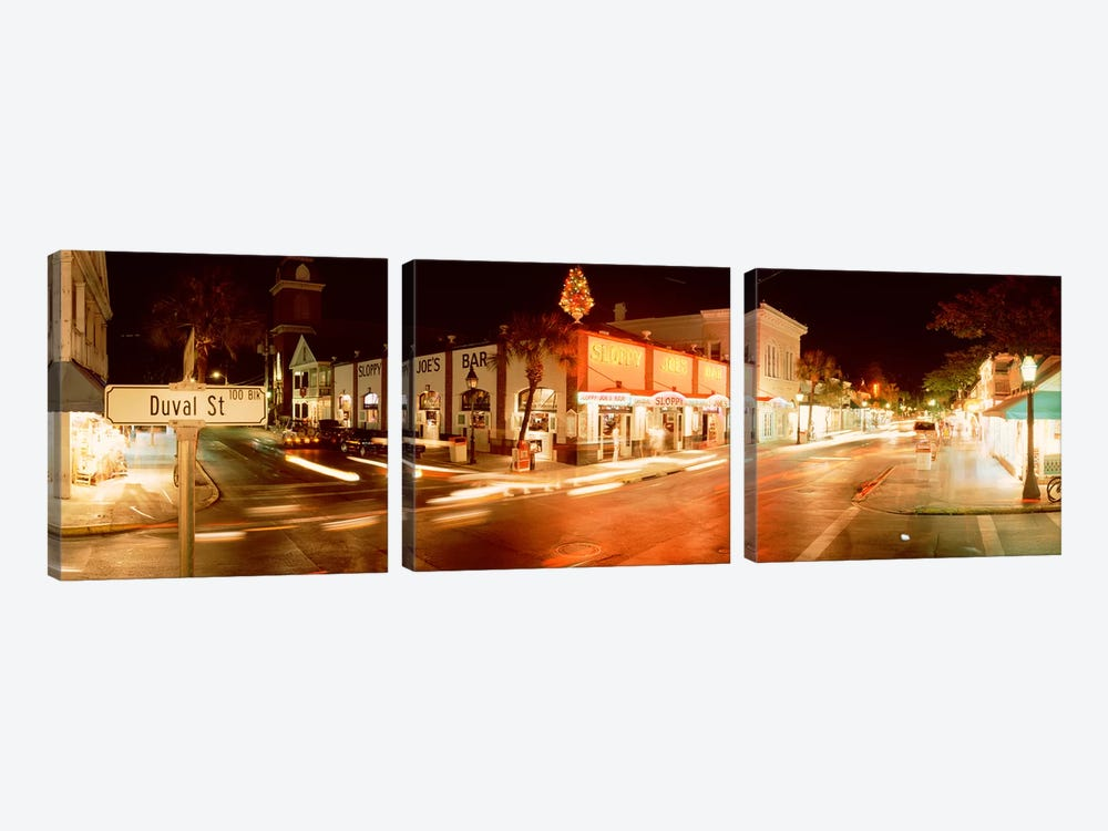 Sloppy Joe's Bar, Duval Street, Key West, Monroe County, Florida, USA by Panoramic Images 3-piece Canvas Wall Art