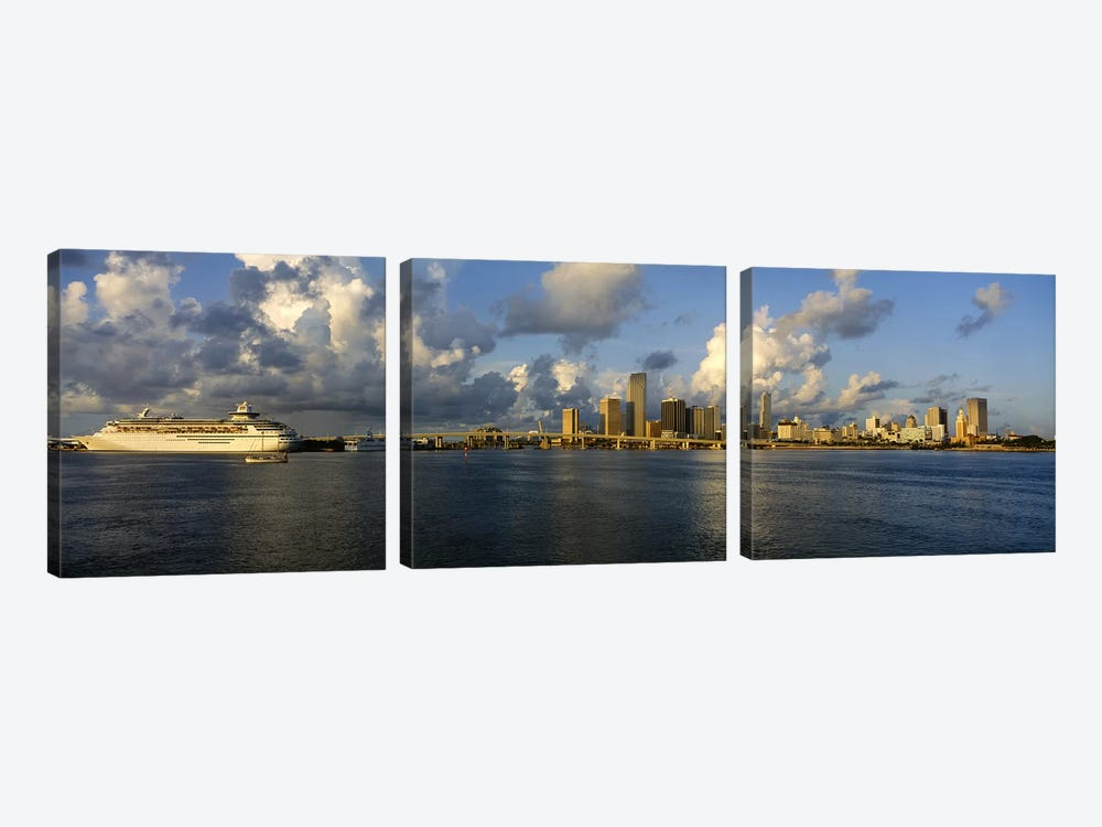 Cruise ship docked at a harbor, Miami, Florida, USA by Panoramic Images 3-piece Canvas Artwork