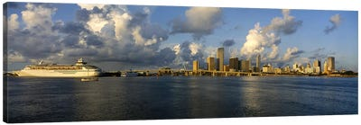 Cruise ship docked at a harbor, Miami, Florida, USA Canvas Art Print