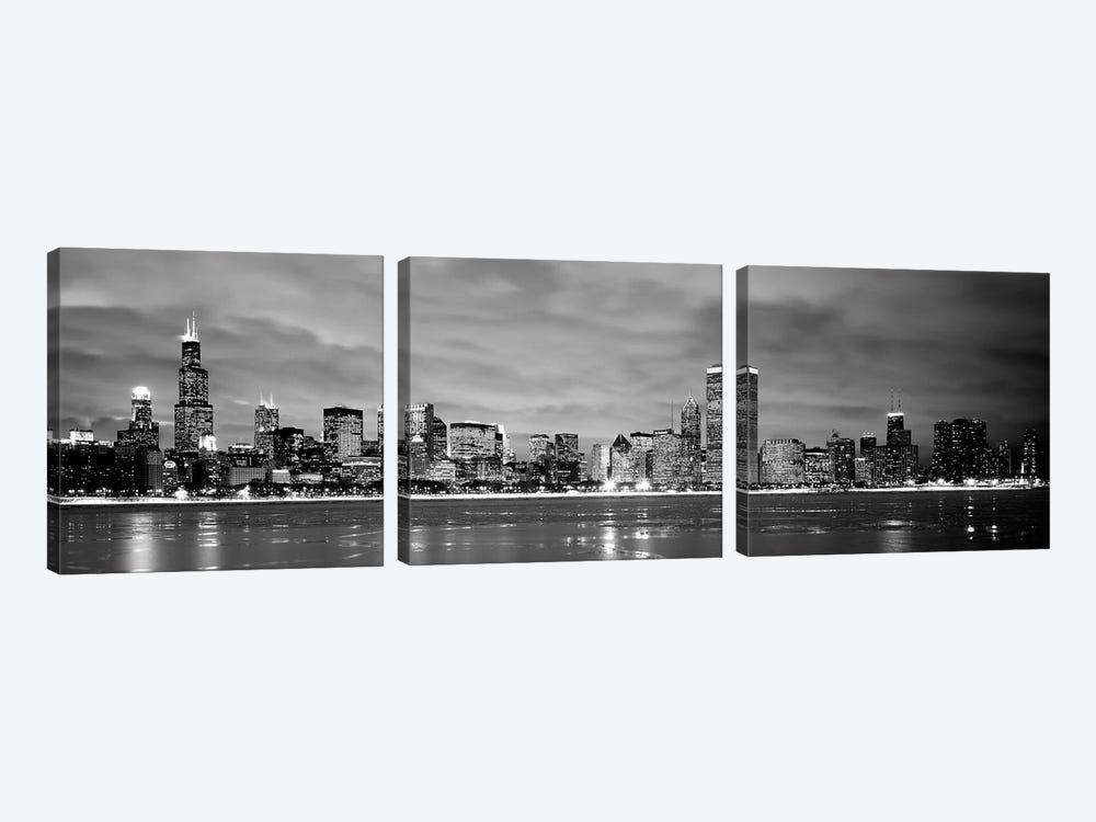 Buildings at the waterfront, Chicago, Illinois, USA by Panoramic Images 3-piece Canvas Art