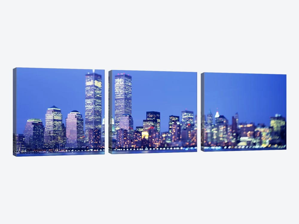 Evening, Lower Manhattan, NYC, New York City, New York State, USA by Panoramic Images 3-piece Canvas Art Print