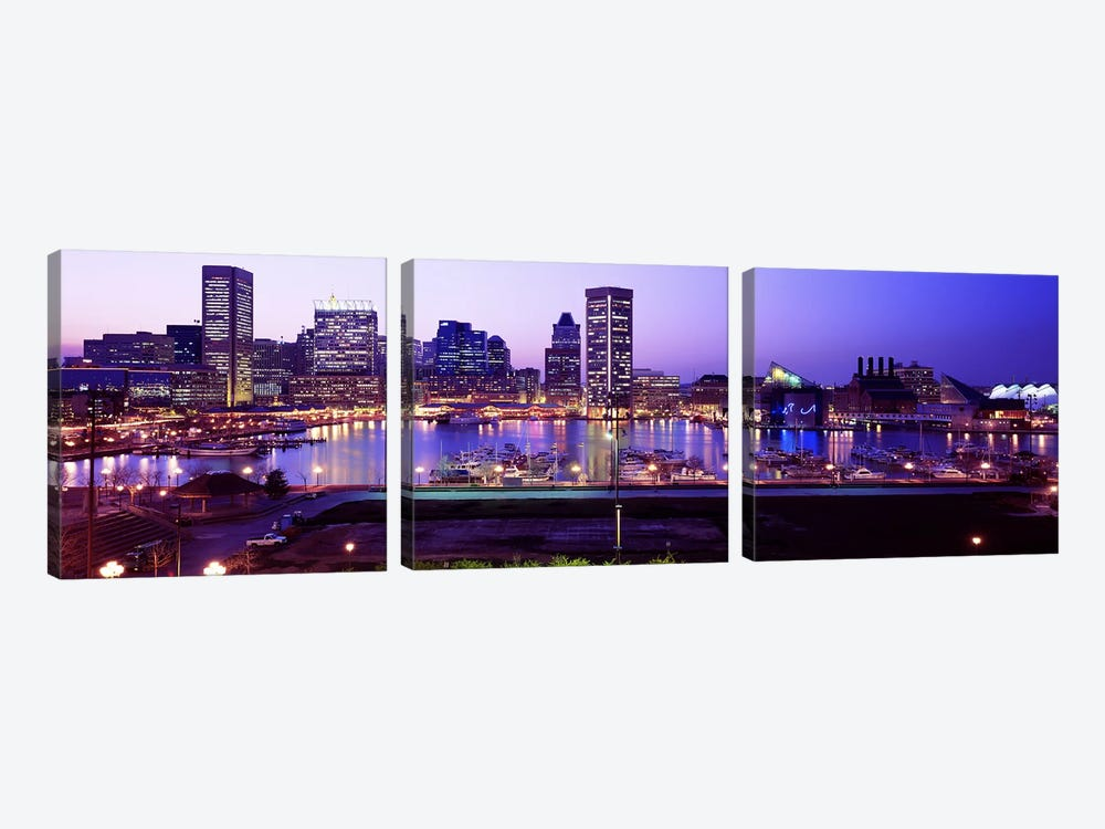 Inner HarborBaltimore, Maryland, USA by Panoramic Images 3-piece Canvas Wall Art