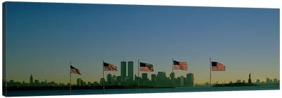 View Of Manhattan Through A Row Of American Flags At Flag Plaza, Liberty State Park, New Jersey Canvas Art Print
