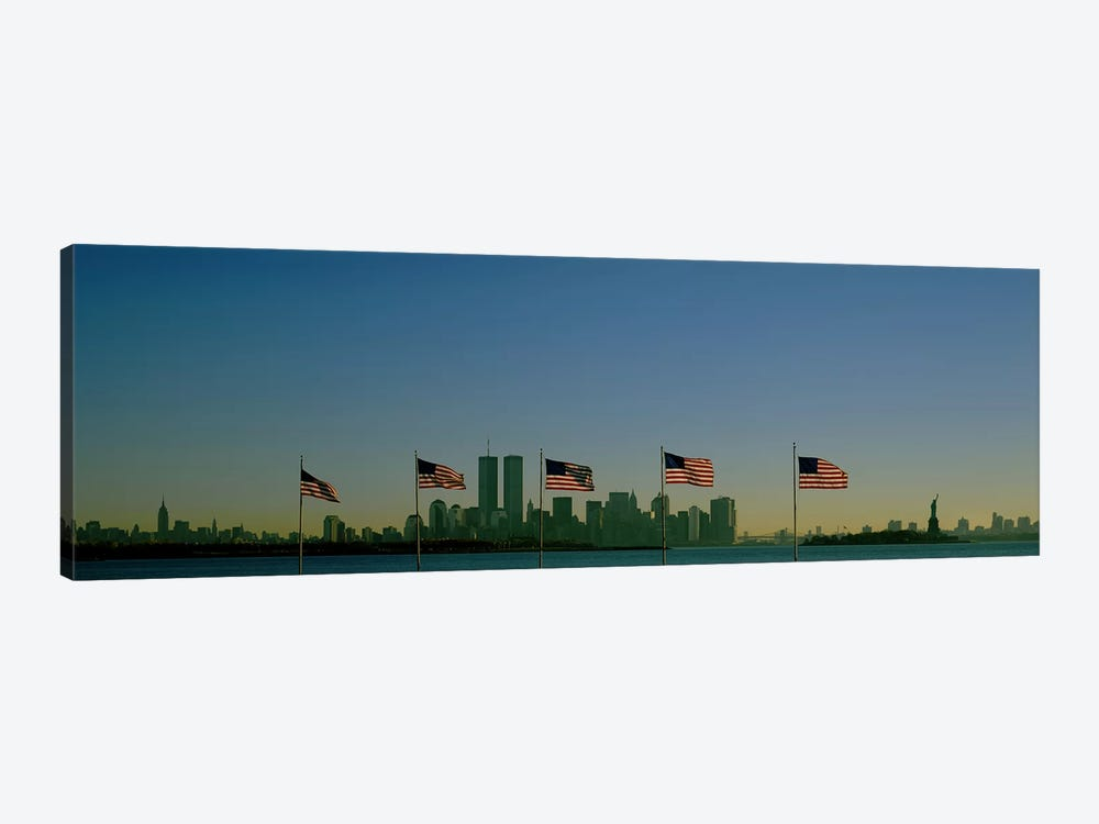 View Of Manhattan Through A Row Of American Flags At Flag Plaza, Liberty State Park, New Jersey by Panoramic Images 1-piece Canvas Wall Art