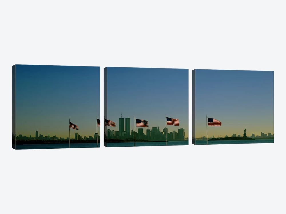 View Of Manhattan Through A Row Of American Flags At Flag Plaza, Liberty State Park, New Jersey by Panoramic Images 3-piece Canvas Art