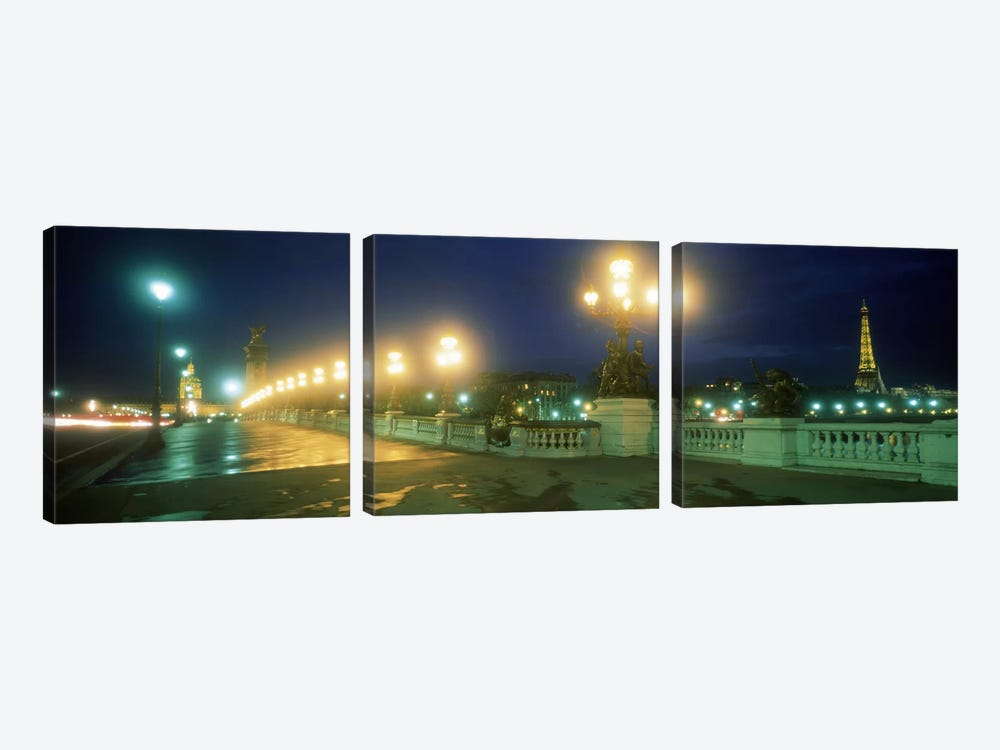Evening Paris France by Panoramic Images 3-piece Canvas Art Print