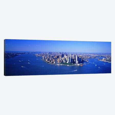 Aerial Lower Manhattan New York City NY Canvas Print #PIM3705} by Panoramic Images Canvas Wall Art