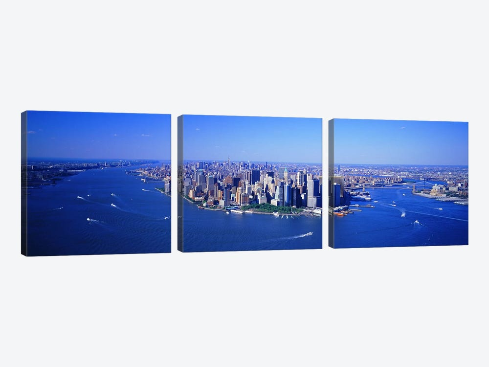 Aerial Lower Manhattan New York City NY by Panoramic Images 3-piece Canvas Art