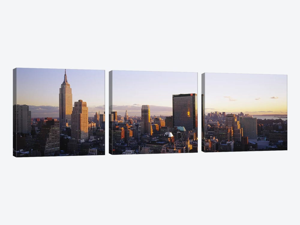 Buildings in a city, Manhattan, New York City, New York State, USA by Panoramic Images 3-piece Canvas Art