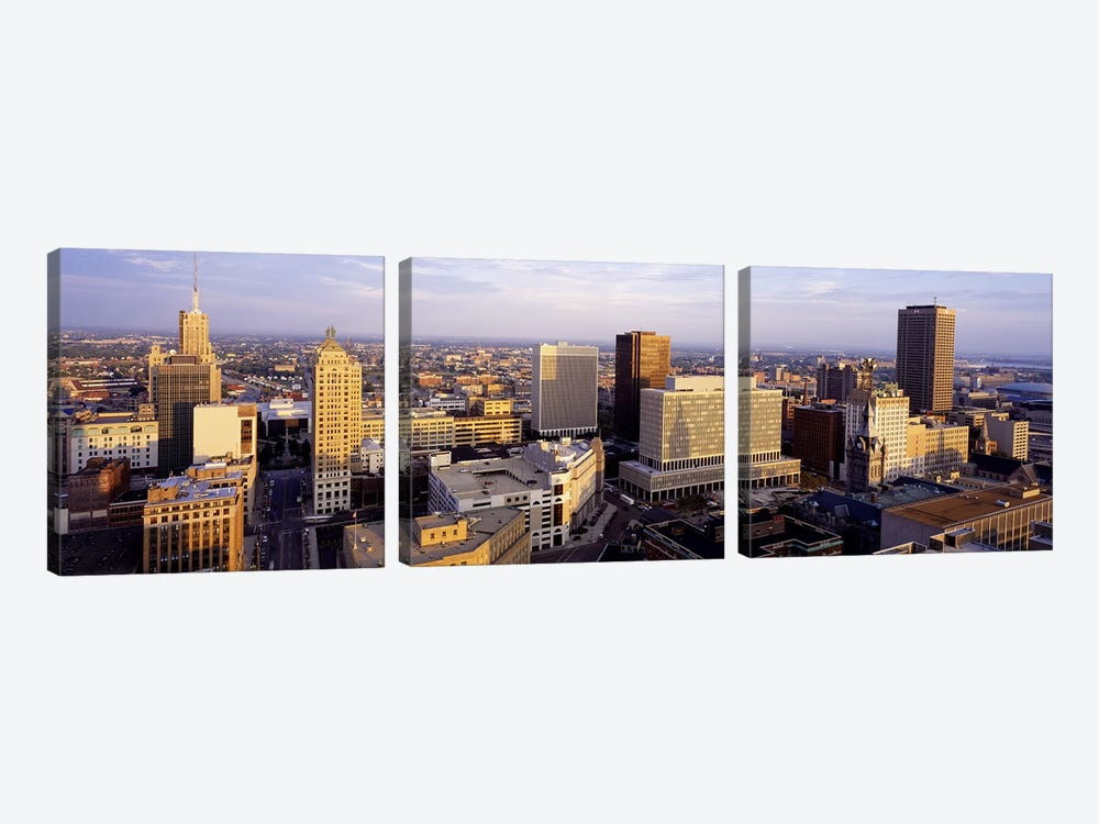 Downtown Skyline, Buffalo, Erie County, New York, USA by Panoramic Images 3-piece Canvas Wall Art