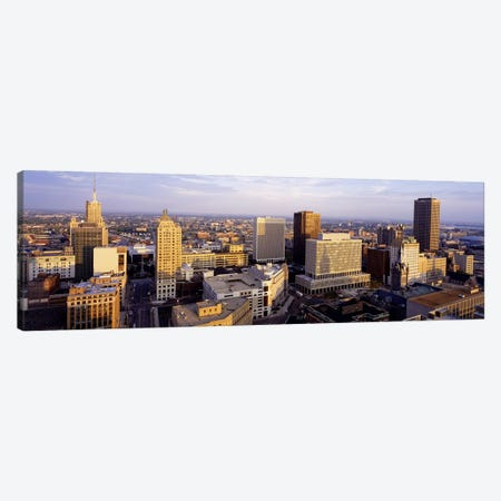 Downtown Skyline, Buffalo, Erie County, New York, USA 3-Piece Canvas #PIM3710} by Panoramic Images Canvas Wall Art