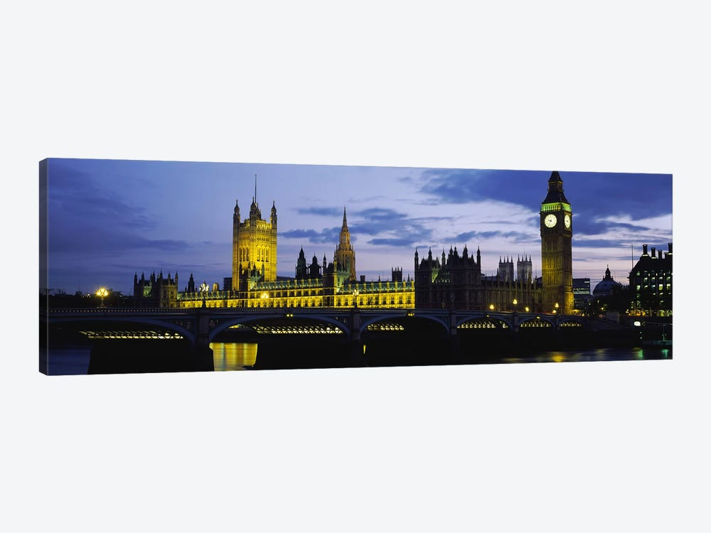 Palace Of Westminster At Night, London, England, United Kingdom 1-piece Canvas Art Print