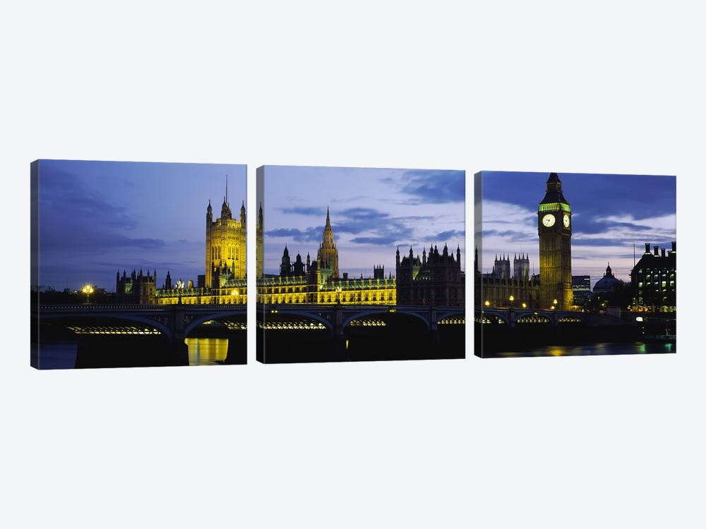 Palace Of Westminster At Night, London, England, United Kingdom 3-piece Art Print