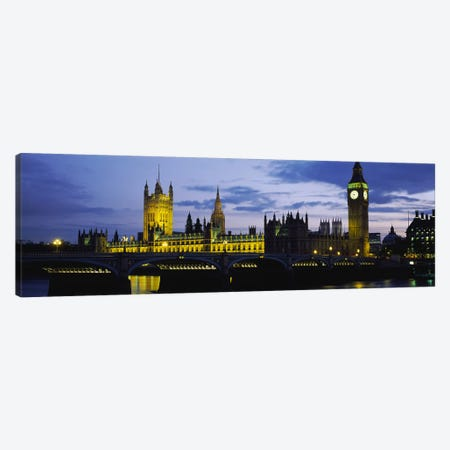 Palace Of Westminster At Night, London, England, United Kingdom Canvas Print #PIM3713} by Panoramic Images Canvas Artwork