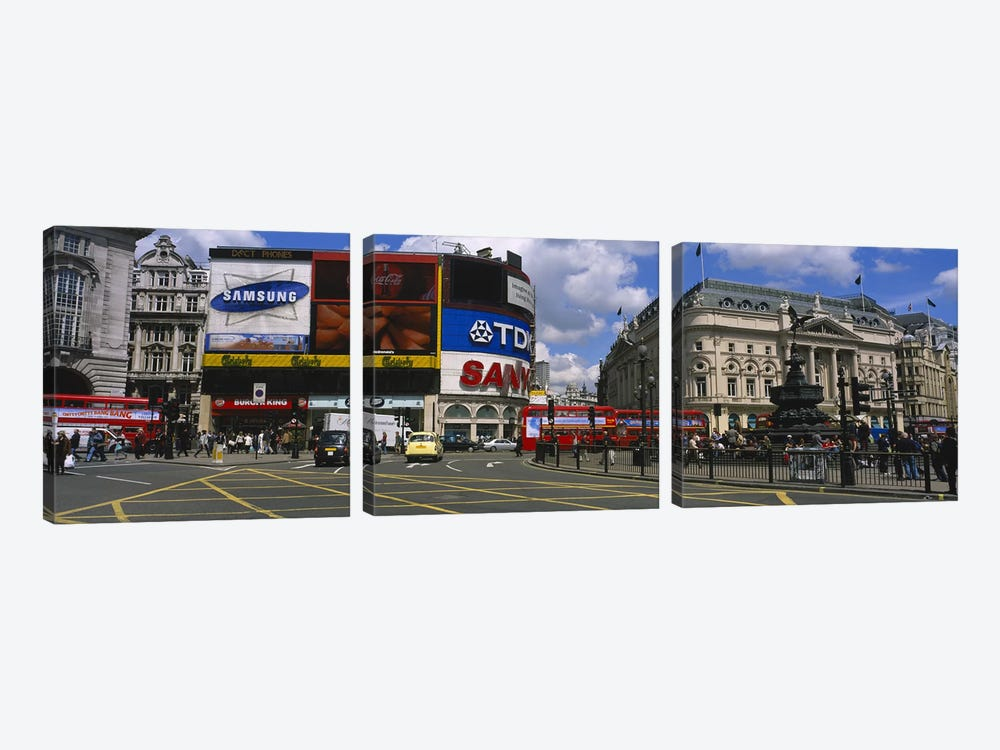 Daytime Scene I, Piccadilly Circus, London, England, United Kingdom by Panoramic Images 3-piece Canvas Wall Art