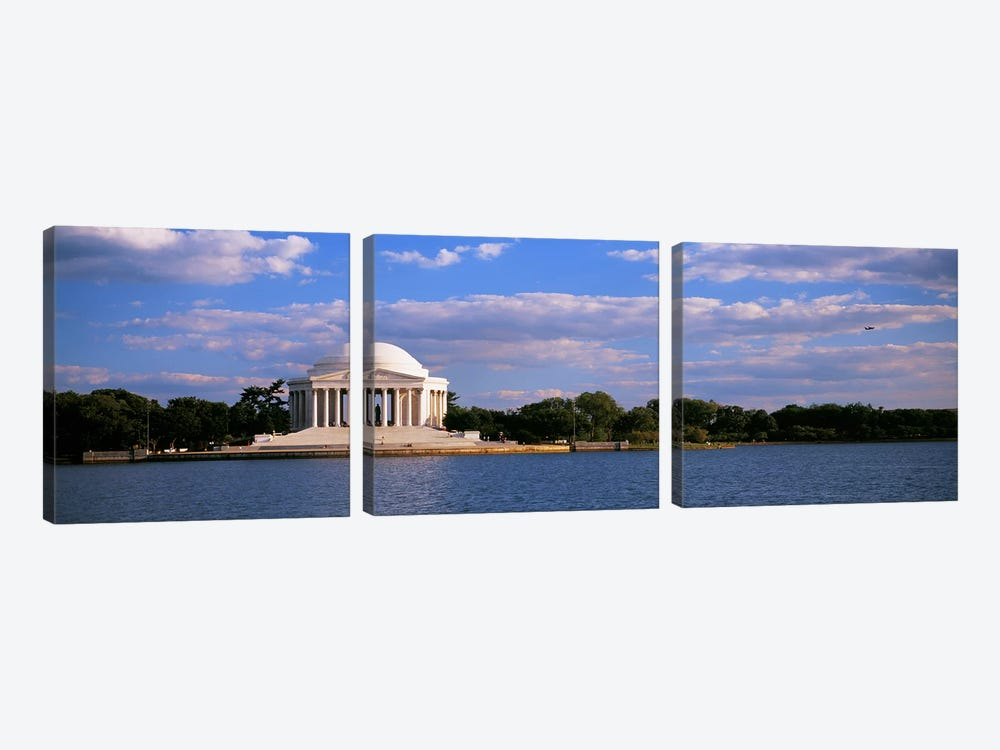Monument On The Waterfront, Jefferson Memorial, Washington DC, District Of Columbia, USA by Panoramic Images 3-piece Canvas Wall Art