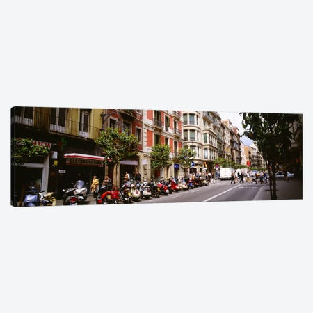 Street Scene Barcelona Spain Canvas Print #PIM3724} by Panoramic Images Canvas Artwork