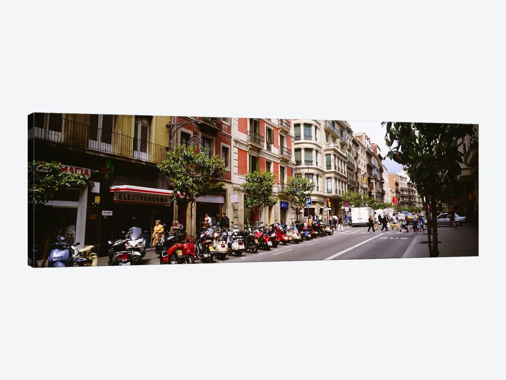 Street Scene Barcelona Spain by Panoramic Images 1-piece Canvas Print