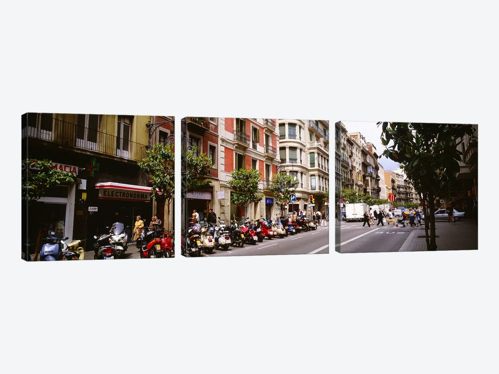 Street Scene Barcelona Spain by Panoramic Images 3-piece Canvas Art Print