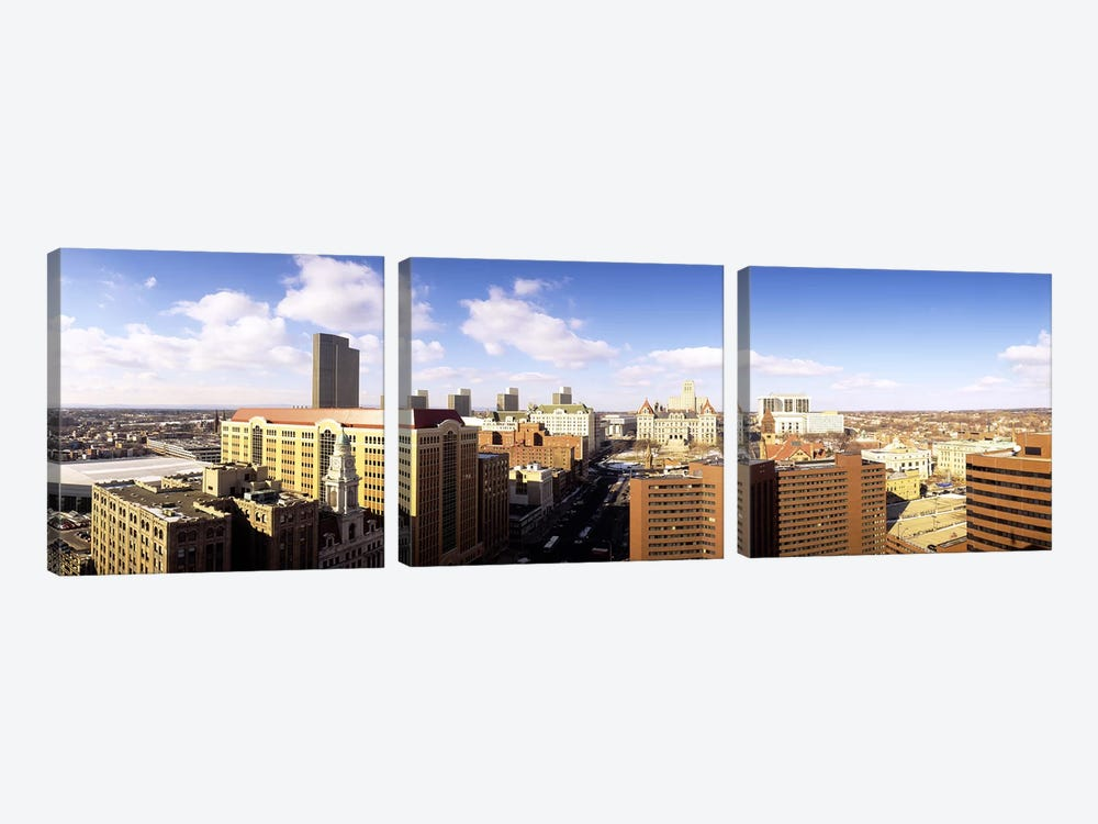 Cloudy Cityscape, Albany, New York, USA by Panoramic Images 3-piece Canvas Wall Art