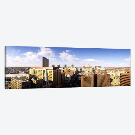 Cloudy Cityscape, Albany, New York, USA 3-Piece Canvas #PIM3730} by Panoramic Images Canvas Wall Art