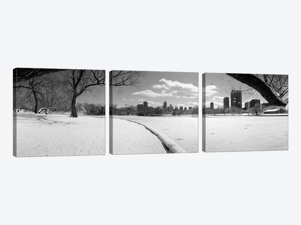 Buildings in a city, Lincoln Park, Chicago, Illinois, USA by Panoramic Images 3-piece Canvas Print