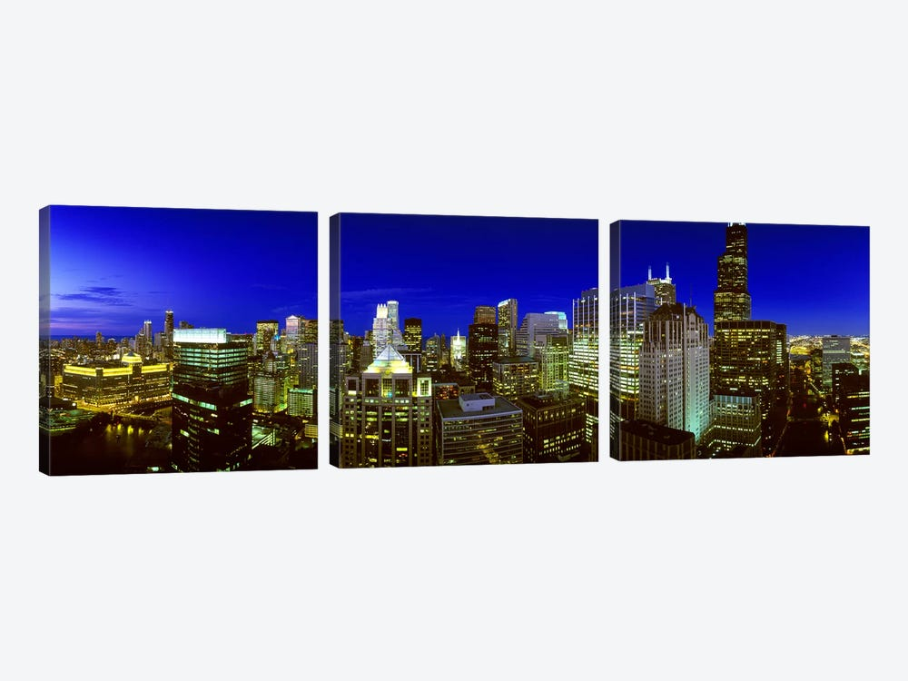 Evening Chicago Illinois by Panoramic Images 3-piece Canvas Art Print