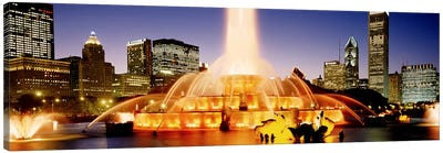 Buckingham Fountain At Dusk, Chicago, Cook County, Illinois, USA Canvas Art Print