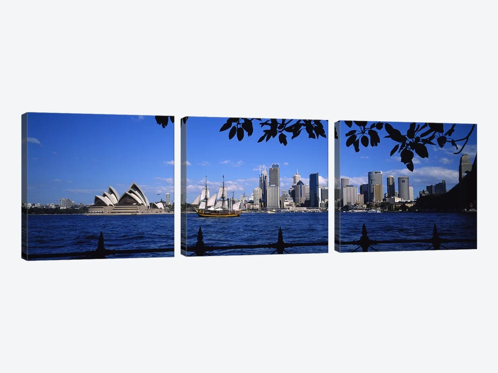 Downtown Skyline& Sydney Opera House, Sydney, New South Wales, Australia by Panoramic Images 3-piece Canvas Wall Art