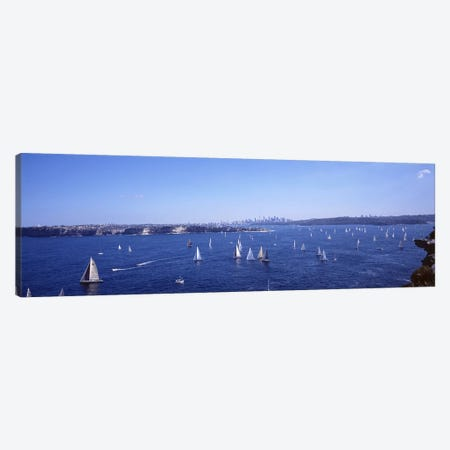 Yachts in the bay, Sydney Harbor, Sydney, New South Wales, Australia Canvas Print #PIM3747} by Panoramic Images Canvas Art