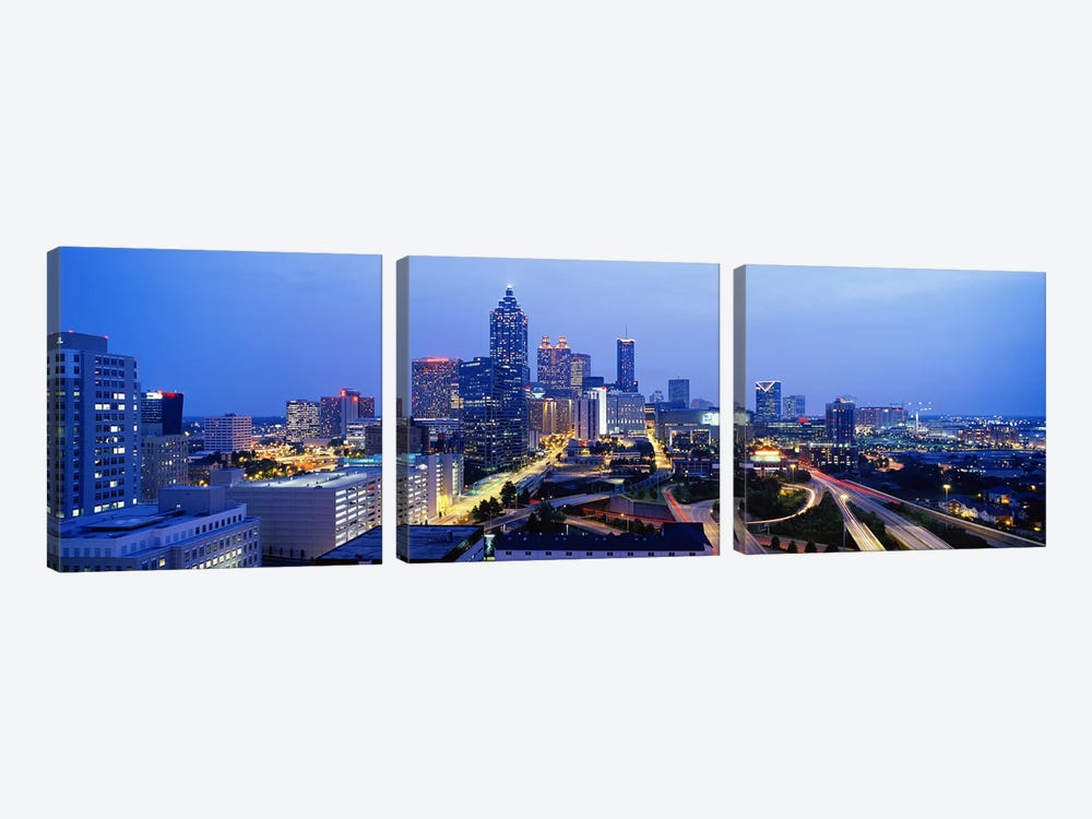 Evening In Atlanta, Atlanta, Georgia, USA by Panoramic Images 3-piece Canvas Artwork