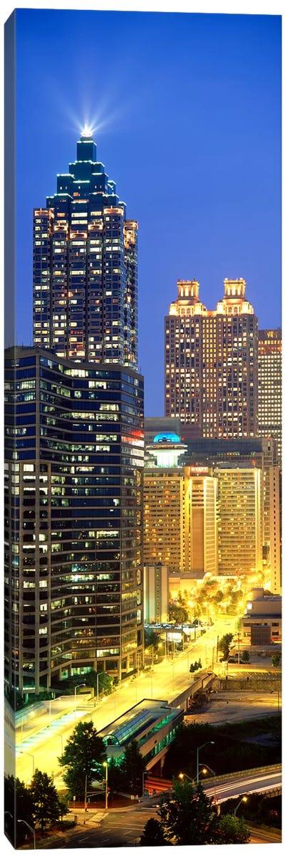 Skyscrapers lit up at night, Atlanta, Georgia, USA Canvas Print #PIM3751