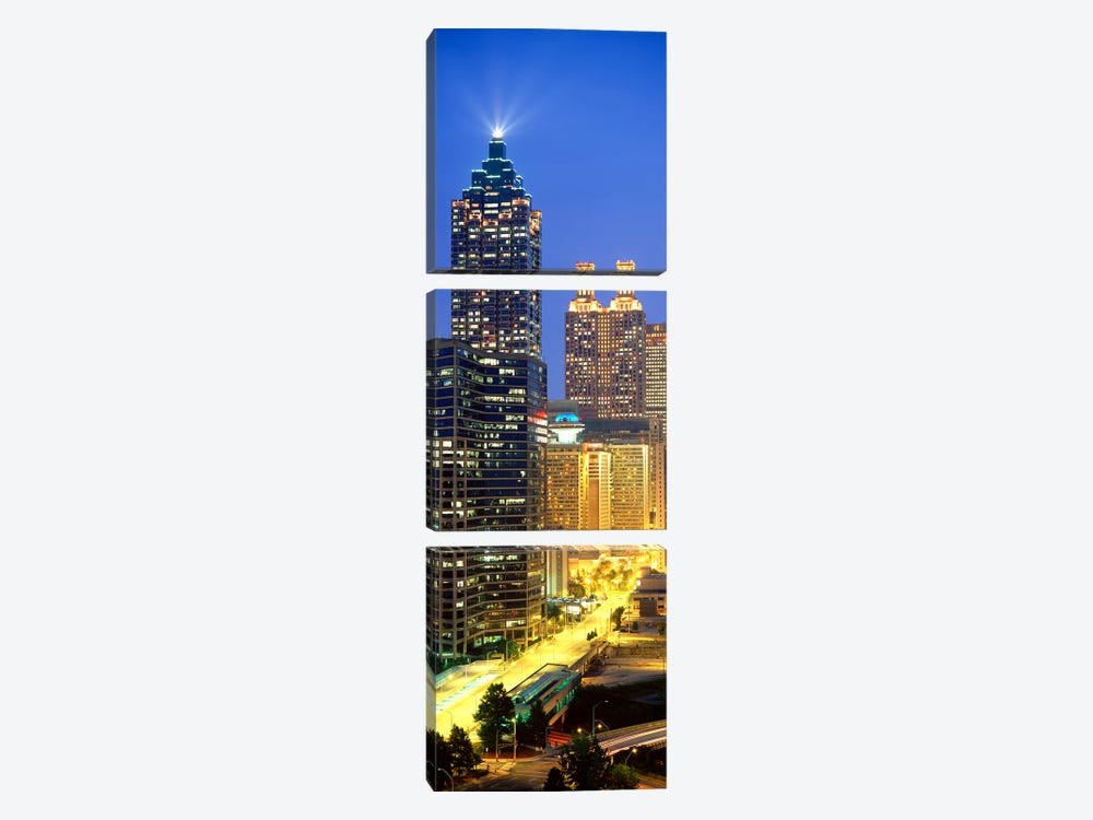 Skyscrapers lit up at night, Atlanta, Georgia, USA by Panoramic Images 3-piece Canvas Art Print