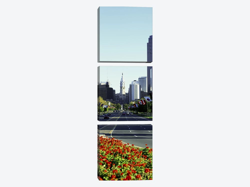 Buildings in a city, Benjamin Franklin Parkway, Philadelphia, Pennsylvania, USA by Panoramic Images 3-piece Canvas Art
