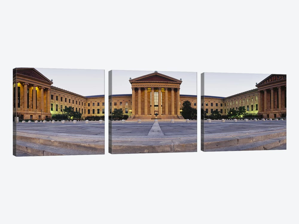 Facade of a museum, Philadelphia Museum Of Art, Philadelphia, Pennsylvania, USA by Panoramic Images 3-piece Canvas Print