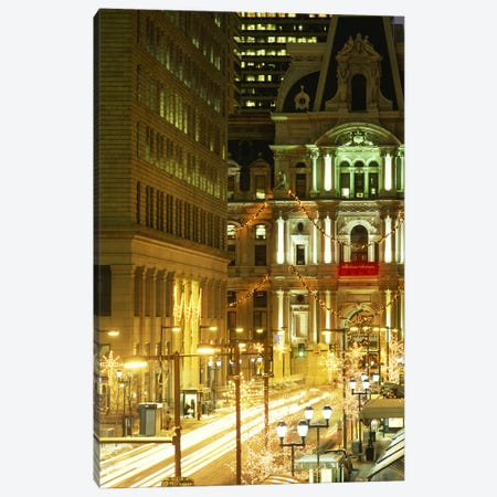 Building lit up at night City Hall, Philadelphia, Pennsylvania, USA Canvas Print #PIM3756} by Panoramic Images Canvas Art Print